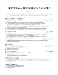 Waitress Resume Fascinating Waitress Resume Example New Restaurant Server Resume Lordvampyrnet