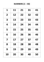 My English World Numbers 1 50 Chart