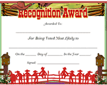 Most Likely To Award Template Country Free Printable Most Likely To Award Certificate
