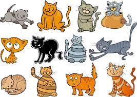 Chats Rigolos Mis Illustration De Dessin Animé | Vecteur Premium