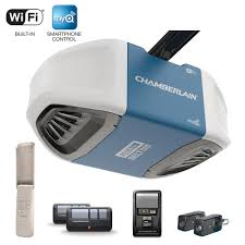 chamberlain 3 4 hp equivalent ultra quiet belt drive smart garage door opener