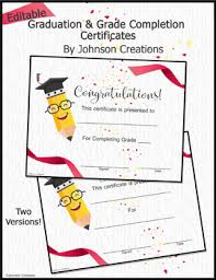 Completion Certificates Editable Graduation Grade Completion Certificates