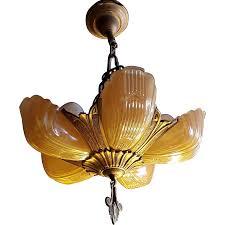 markel art deco peach er glass 5 slip shade chandelier