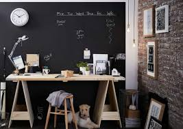 Office Chalkboard Home Office With Chalkboard Walls And Small Wall Clock Using A