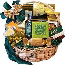 well stocked gourmet food and snack sler gift basket with smoked salmon chocolate option