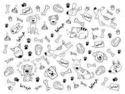 面白い犬足のプリントや骨と手の落書きベクトルクリップアート壁紙背景