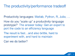 the first ten minutes of my juliacon talk al slide the productivity performance tradeoff productivity languages matlab python r