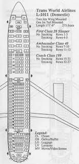 Vintage Airline Seat Map Twa L 1011 Tristar Domestic