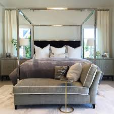 Mirrored Canopy Bed with Black Velvet Headboard - Transitional - Bedroom