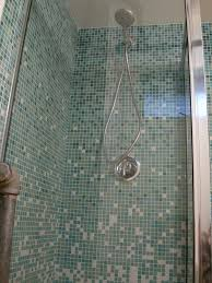 open look for a small space glass tile shower