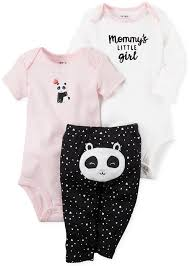 Carters Baby Girl Size Chart Carters 3 Pc Cotton Panda Bodysuits Pants Set Baby