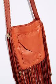 joplin fringe leather purse cognac