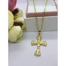 ihambing ang pinakabagong authentic bangkok gold 18k religious item holy cross crucified necklace b saudi gold not able pinahusay na presyo sa
