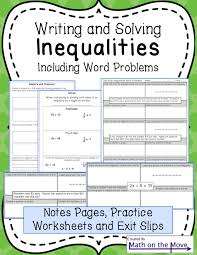 inequalities notes and practice includes word problems 7th grade