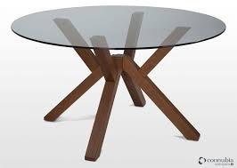 contemporary round glass walnut dining table mikado