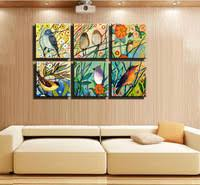 6 Piece Canvas Wall Art Green Yellow Adorable Bird Picture Huge Muti Panel Canvas  Wall Art Abstract Tree Birds Decorative Picture Landscape Oil Painting