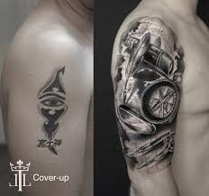 Realistic Cover Up Sleeve Half Arm Tattoo Black And White Compass