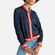 <b>Рубашка</b> короткая из двух материалов синий морской <b>La</b> ...