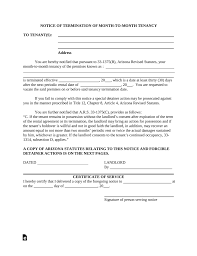 Notice Of Lease Termination Letter From Landlord To Tenant Arizona Lease Termination Letter Template 30 Day Notice Eforms