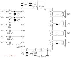 wiring diagram for amplifier tda7381 4 x 25w quad audio amplifier schematic design tda7383 4 x 35w quad bridge amplifier