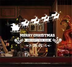 Emwel 2 Stück Weihnachtsdeko Merry Christmas Schaufensterdekoration Weihnachtssticker Wandaufkleber Fenster Aufkleber Engel Elch Weihnachten Xmas