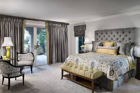 grey and yellow with modern curtains and ds bedroom contemporary and gray tufted headboard