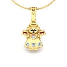 avsar real gold and diamond anjali pendant