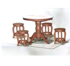 dn788 round marble dining table 3ft 4 stools set