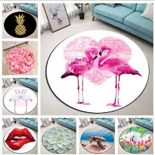 flamingo love heart palm round carpet area rugs bedroom nonskid fitness yoga mat