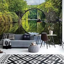 Photo Wallpaper 3D Tranquil Lake Bridge ...