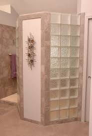 doorless walk in shower with privacy wall