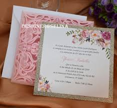 Quincenera Invitations 2019 Pink Laser Cut Quinceanera Invitations With Glitter Bottom Customized Printing Invitations Cards For Wedding Birthday Graduations Wedding