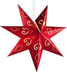 Hellum 521795 Led Weihnachtsstern Warm Weiß Led Rot Timer Mit Ausgestanzten Motiven Mit Fernbedienung Zum Aufhängen