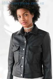 outerwear black kimchi blue shrunken vegan leather trucker jacket womens clothing australia
