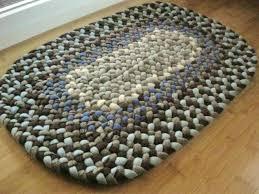 oval bath mat handmade wool oval braided rug or bath mat in sky and chocolate brown oval bath mat