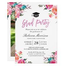 Graduation Party Announcement Watercolor Botanical Pink Floral Graduation Party Invitation