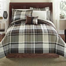 mainstays 8 piece bed in a bag bedding comforter set brown plaid multiple sizes com
