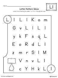 Letter Pattern Maze Letter L Worksheet