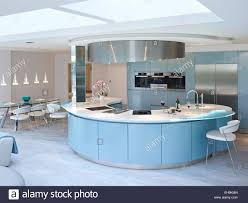 modern curved kitchen island. Blue And White Curved Breakfast Bar/island In Modern Kitchen Of Residential House, The Drive, UK Island A