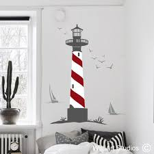 lighthouse seagulls boats on wall art vinyl stickers south africa with nautical ocean wall decals wall stickers online wall art