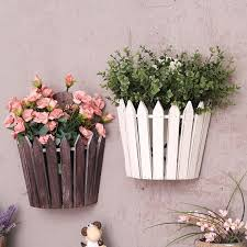 wooden planter hanging wall mounted
