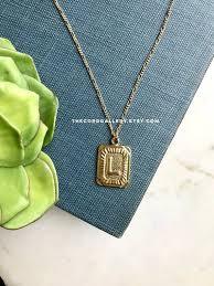 gold letter l necklace vintage style