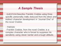 the essay what do you remember let s review start at the end  a sample thesis question describe franklin crabbe using three specific personality traits deduced from the
