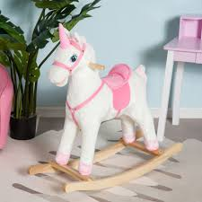 plush rocking chair. Contemporary Plush Qaba Kids Plush Rocking Horse Unicorn Ride On Toy Toddler Rocker Chair W  Song Intended S