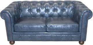 armen living winston antique blue bonded leather loveseat lc10602atbl