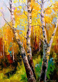 saatchi art artist olha darchuk painting birch trees art