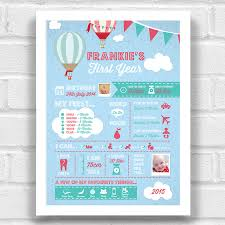 Personalised Babys First Year Print Hot Air Balloon