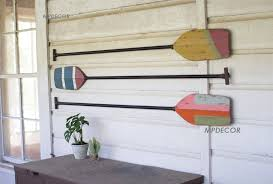 set of 3 wooden boat paddles wall art decor beach coastal