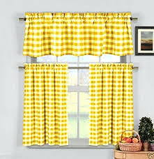 yellow valance yellow gingham checd plaid kitchen tier curtain valance set by duck river yellow valance