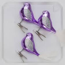 3 Tlg Glas Vogel Set In Hochglanz Lila Silber